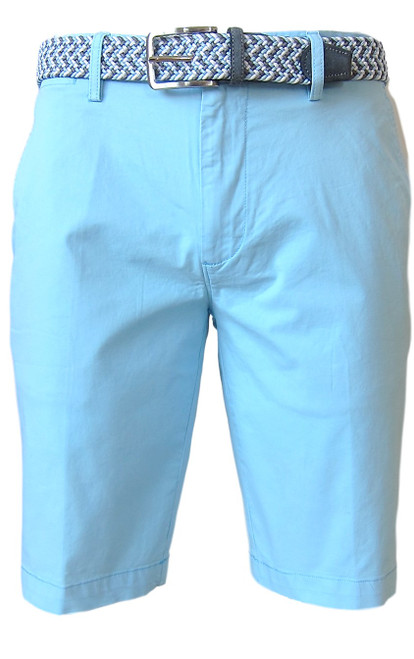 We call it the perfect timing .... Our Georg Roth Mens shorts have been developed and in the works for the last year. Getting it right is our first priority.   A Peruvian cotton with just enough stretch makes this super comfortable and stylish. Our chino flat front with 2 side pockets and a front coin pocket will take you to work or casual anytime, anywhere. (Belt sold separately https://georgrothlosangeles.com/mens-belts-1/)   Love the look with a Shirt open and a Tee (of course sleeves rolled) or a Polo or Tee. Pair it with our stretch braided belt and feel great all day into evening.  Aqua Blue  Machine wash cold, light tumble dry or lay flat to dry  Sizing  - True to size   97% Cotton 3% Lycra