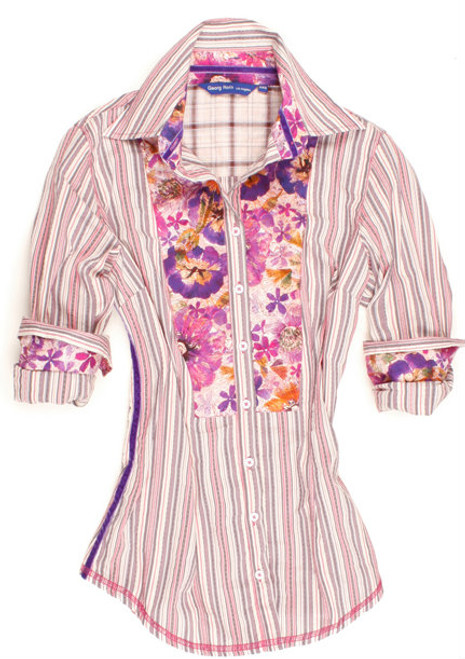 This cute light pink & lilac striped blouse will be a fun addition to your little trendsetters spring wardrobe. Casey is detailed with a charming Liberty of London floral contrast inside the collar, cuffs and on shoulder panel. Contrasted with a soft light pink and lilac plaid on the outer collar stand. Finishing touches of a purple crushed velvet ribbon inside the collar and down right side. All seams done to perfection with contrast stitching in magenta.