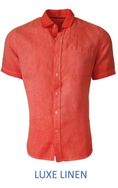 Perfect for warm weather our Short Sleeves Garment Dyed Linen Shirt in a garment dyed vibrant orange. Cool comfort with a relaxed fit, slightly tapered to be worn untucked or paired with a Georg Roth Tee and worn open. Machine or Hand Wash cold, lay flat to try.  90% Linen / 10% Cotton . . . . . .  #LinenShirts #GarmentDyed #ShortSleeves #Shirt #Shirts