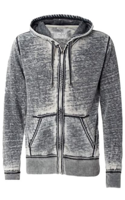Your go to fashion full zip hoodie has arrived! A vintage burn out effect in Grey with a full zip with 2 pockets. Light weight fleece.  Easy piece that you will just love the comfort and feel. Pair it with any of our tees and enjoy the layered look of casual comfort.  Each piece has its own character with Raw edge seams around the hood, pockets and cuffs giving it a lived in look.  Hand or Machine wash cold and lay flat to dry (No bleach please)