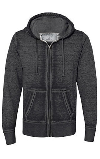 Your go to fashion full zip hoodie has arrived! A vintage burn out effect in Black/Charcoal with a full zip with 2 pockets. Light weight fleece.  Easy piece that you will just love the comfort and feel. Pair it with any of our tees and enjoy the layered look of casual comfort.  Each piece has its own character with Raw edge seams around the hood, pockets and cuffs giving it a lived in look.  Hand or Machine wash cold and lay flat to dry (No bleach please)