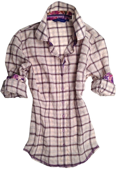 This soft, lightweight and slightly crinkled lilac & light pink long sleeve plaid blouse is detailed with a charming Liberty of London floral print inside the collar stand, cuffs and on the outer collar stand. Finishing touches of a lilac & purple striped satin ribbon inside the collar stand and inside front placket. All seams are done to perfection with contrast stitching in purple. 92% Cotton, 7% Polyester, 1% Metal Fibre