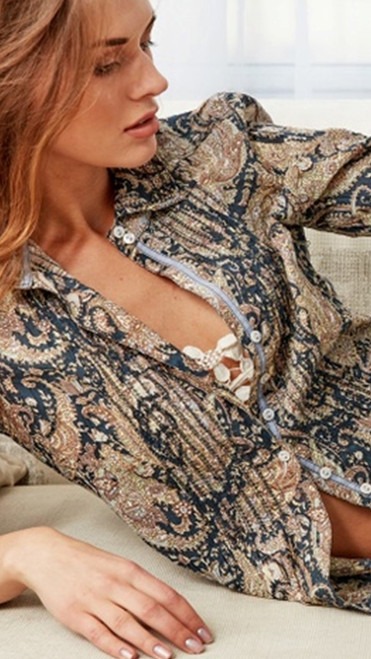 Rich and elegant is this stunning paisley print. Shades of taupe, cream and vintage blue make this the perfect jeans companion.   Ticking and ribbon details show beautifully when worn with a jacket.  Washes with ease Machine wash cold or hand wash and twist to crinkle or for a cleaner crisp look you may iron