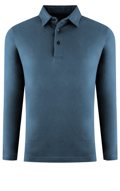 If you are familiar with our Luxe Pima than you can imagine how special and stunning our Long Sleeve fashion polo is. A special Garment Dyed wash in Capri Blue pullover 3 button with collar is perfect for dress up or casual. Works great with a jacket and feels like a million with our soft buttery feel. Wash and dry without any shrinkage or twisting seams. Our pima is the finest in the industry and we guarantee it! For a more relaxed look, please size up 100% PIMA COTTON