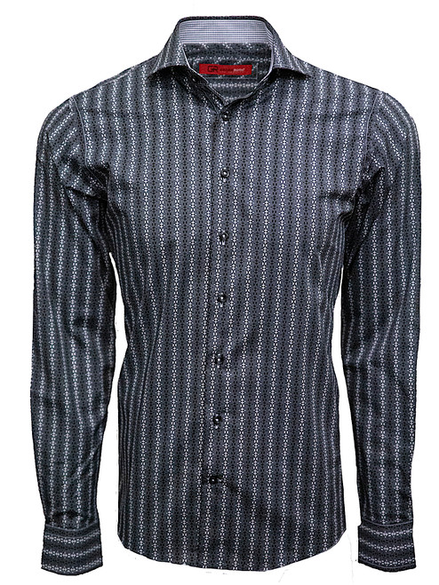 Toronto 37033-020 Mens Long Sleeves Charcoal Black Pattern