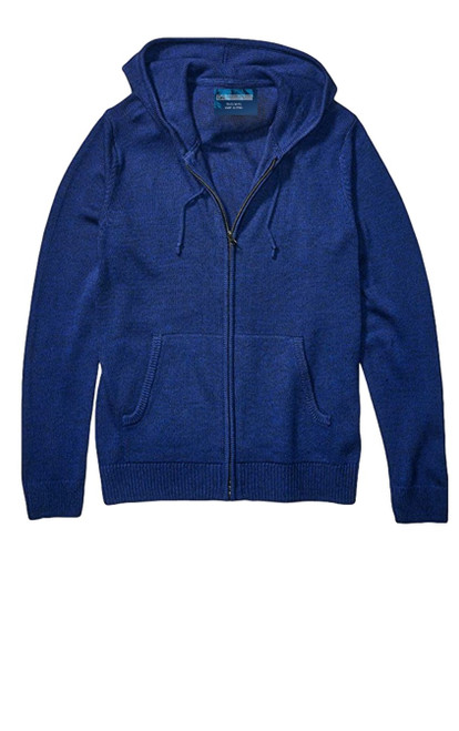 So soft and comfy is our full zip knit sweater hoodie. A striking deep royal blue makes this versatile for casual or dress. Pair with denims and layer over a tee or shirt, or for added warmth under a coat or blazer.  70% Cotton 30%PA  Machine or hand wash cold, lay flat to dry