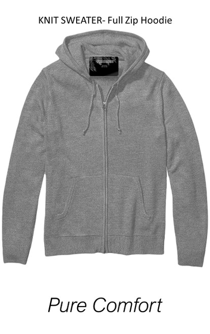 So soft and comfy is our full zip knit sweater hoodie. A soft heather grey makes this versatile for casual or dress. Pair with denims and layer over a tee or shirt, or for added warmth under a coat or blazer.  70% Cotton 30%PA  Machine or hand wash cold, lay flat to dry