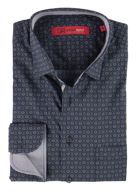Sophisticated Luxe fine 100% Pima Cotton woven shirt for dress or casual!     A rich Navy & Olive print that goes with so much and looks so rich and handsome with khakis or denim       1 Breast pocket  Navy buttons  Machine wash cold hang to dry or dry clean