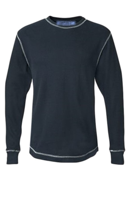 You will love our Lightweight thermal wardrobe staple in Navy with white stitching. Carefree and casual to wear with your fave denims day or night. It's an effortless fashion statement. Super soft with contrast stitching details. You will never want to take it off!   Lightweight Thermal  Long Sleeves, Crew Neck  100% Cotton  Machine or hand wash cold lay flat to dry and go!!  100% Cotton