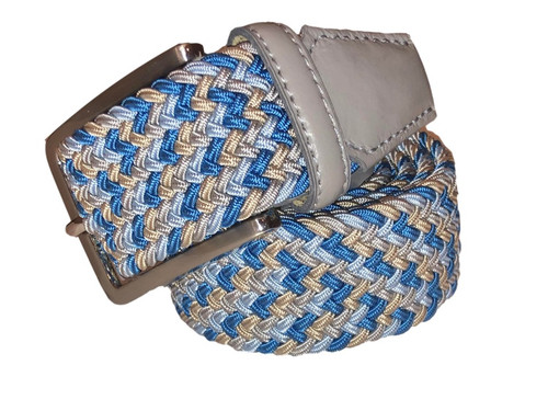 Compliment your Jeans or Trousers with our awesome stretch braided belt. Comfort is King. Blue, Lt Blue, Beige Braided with Grey Genuine Leather Stretch Width 35 mm Order 1 size greater than pant size. Made in Germany