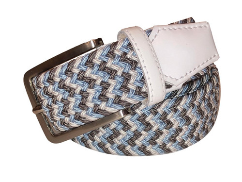 Compliment your Jeans or Trousers with our awesome stretch braided belt. Comfort is King. Grey, Lt Blue, White Braided w/ White Genuine Leather Made in Germany Stretch Width 35 mm Order 1 size greater than pant size. Made in Germany