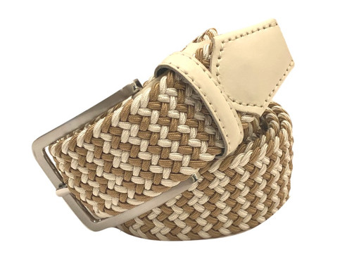 Compliment your Jeans or Trousers with our awesome stretch braided belt. Comfort is King. Camel & Eggshell Braided w/ Cream Genuine Leather Stretch Width 35 mm Order 1 size greater than pant size. Made in Germany