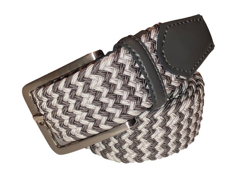 Compliment your Jeans or Trousers with our awesome stretch braided belt. Comfort is King. Grey White Braided w/ Charcoal Genuine Leather Stretch Width 35 mm Order 1 size greater than pant size. Made in Germany
