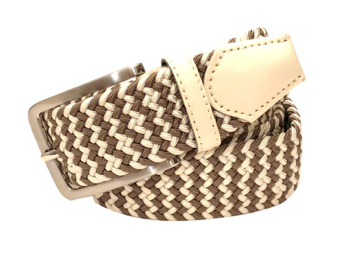Compliment your Jeans or Trousers with our awesome stretch braided belt. Comfort is King. Khaki & White Braided with Charcoal Genuine Leather Stretch Width 35 mm Order 1 size greater than pant size. Made in Germany