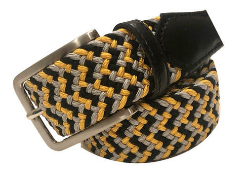 Compliment your Jeans or Trousers with our awesome stretch braided belt. Comfort is King. Black, Yellow Grey Braided with Black Genuine Leather Stretch Width 35 mm Order 1 size greater than pant size. Made in Germany