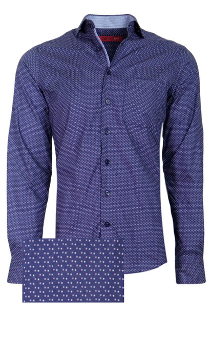 Sophisticated Luxe fine 100% Pima Cotton woven shirt for dress or casual!     A Navy & Pink small print that goes with so much and looks so rich and handsome.   The mini light blue and white contrast in the collar stand and cuffs, when rolled, and down the front placket add that special complimentary touch that Georg Roth shirts are known for.      1 Breast pocket  Navy buttons  Machine wash cold hang to dry or dry clean