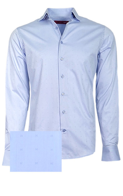 The finest cotton on the planet!! A very rich and sophisticated woven mini tone on tone in a soft powder blue. Casual and roll the sleeves or for dress under a jacket you will love this for years to come.  100% Pima Cotton