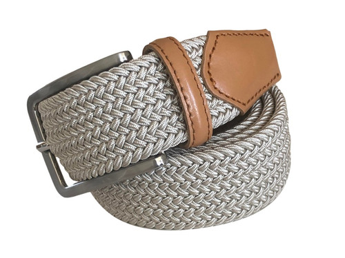Compliment your Jeans or Trousers with our awesome stretch braided belt. Comfort is King. Beige Braided With Beige/Brown Genuine Leather Tipping Stretch Width 35 mm Order 1 size greater than pant size. Made in Germany
