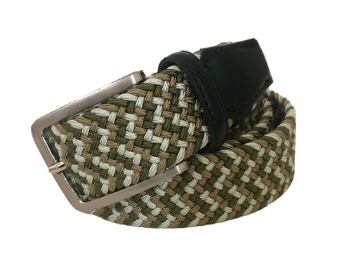 Compliment your Jeans or Trousers with our awesome stretch braided belt. Comfort is King. Green/Brown/Multi Braided With Black Genuine Leather Tipping Stretch Width 35 mm Order 1 size greater than pant size. Made in Germany