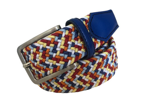 Compliment your Jeans or Trousers with our awesome stretch braided belt. Comfort is King. Orange multi Braided With Royal Genuine Leather Tipping Stretch Width 35 mm Order 1 size greater than pant size. Made in Germany