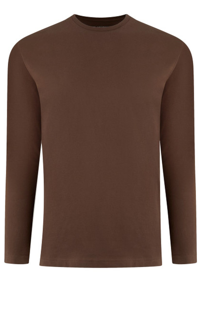 Luxury Long Sleeves Crew-Neck Pima Cotton Mens T-shirt in a rich milk chocolate (Softer than ever)  Georg Roth is proud to feature his love of T-shirts.  The World's Greatest T-Shirt Made of natural materials Our guarantee: 100% Supercombined Pima Cotton / Organic Wash UP TO 60 DEGREES Celcius  Zero percent shrinkage, dryer proof Maximum maturity of elasticity & shape Ecological dyes of supreme quality & free of chemicals