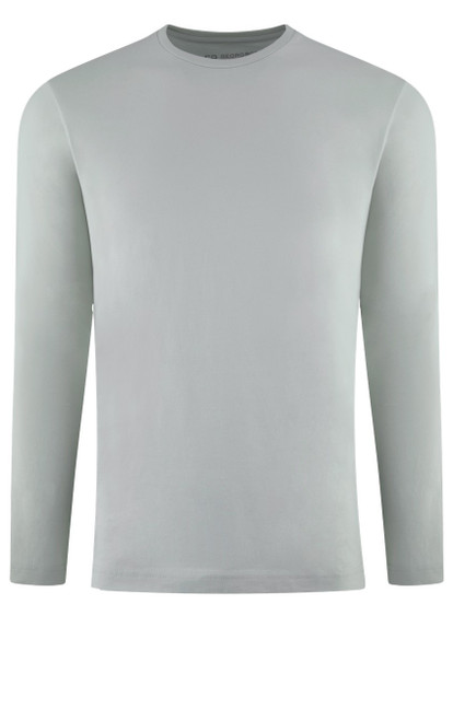 Luxury Long Sleeves Crew-Neck Pima Cotton Mens T-shirt in a soft Cement (Softer than ever)  Georg Roth is proud to feature his love of T-shirts.  The World's Greatest T-Shirt Made of natural materials Our guarantee: 100% Supercombined Pima Cotton / Organic Wash UP TO 60 DEGREES Celcius  Zero percent shrinkage, dryer proof Maximum maturity of elasticity & shape Ecological dyes of supreme quality & free of chemicals