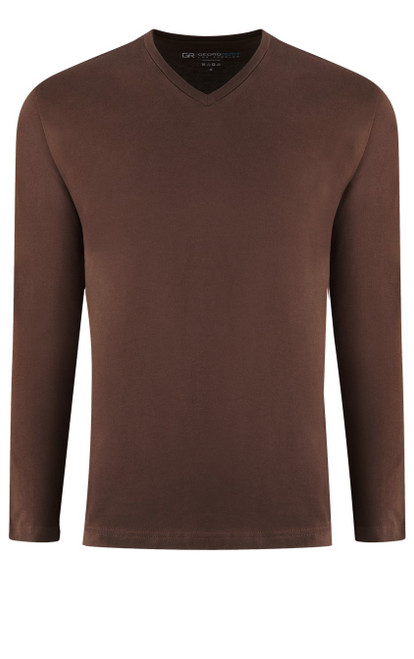 Luxury Long Sleeves V-Neck Pima Cotton Mens Tshirt in a Rich Milk Chocolate (Softer than ever)  Georg Roth is proud to feature his love of t-shirts.  The World's Greatest T-Shirt Made of natural materials Our guarantee: 100% Supercombined Pima Cotton / Organic Wash UP TO 60 DEGREES Celcius  Zero percent shrinkage, dryer proof Maximum maturity of elasticity & shape Ecological dyes of supreme quality & free of chemicals