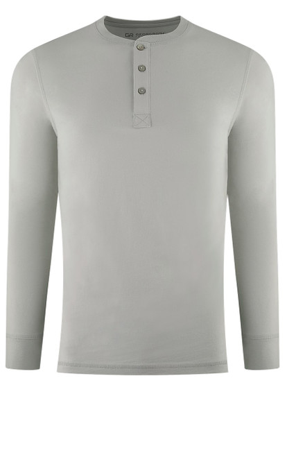 Luxury Long Sleeves Henley Pima Cotton Mens Tshirt in Cement (Softer than ever)  Georg Roth is proud to feature his love of t-shirts.  The World's Greatest T-Shirt Made of natural materials Our guarantee: 100% Supercombined Pima Cotton / Organic Wash UP TO 60 DEGREES Celcius  Zero percent shrinkage, dryer proof Maximum maturity of elasticity & shape Ecological dyes of supreme quality & free of chemicals