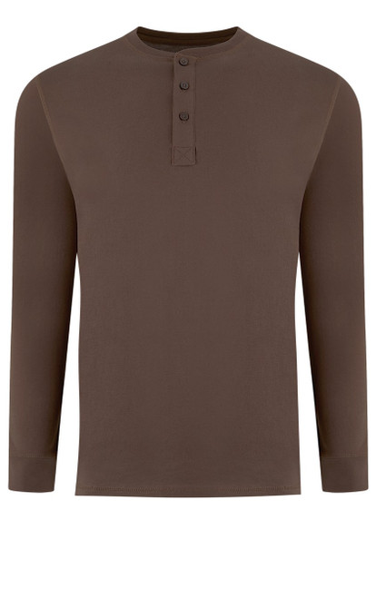 Luxury Long Sleeves Henley Pima Cotton Mens Tshirt in Milk Chocolate (Softer than ever)  Georg Roth is proud to feature his love of t-shirts.  The World's Greatest T-Shirt Made of natural materials Our guarantee: 100% Supercombined Pima Cotton / Organic Wash UP TO 60 DEGREES Celcius  Zero percent shrinkage, dryer proof Maximum maturity of elasticity & shape Ecological dyes of supreme quality & free of chemicals