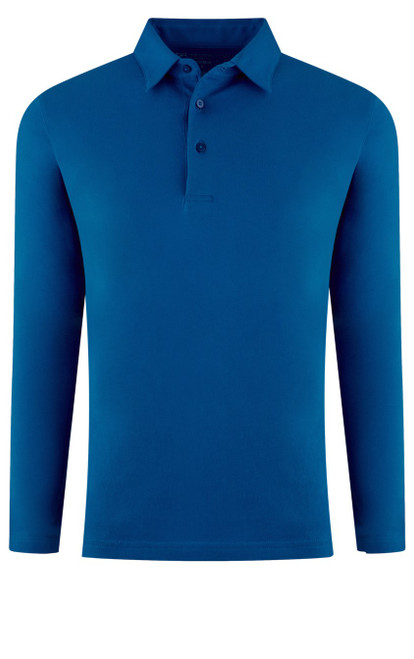 If you are familiar with our Luxe Pima than you can imagine how special and stunning our Long Sleeve fashion polo is. Sapphire Blue pullover 3 button with collar is perfect for dress up or casual. Works great with a jacket and feels like a million with our soft buttery feel. Wash and dry without any shrinkage or twisting seams. Our pima is the finest in the industry and we guarantee it! For a more relaxed look, please size up 100% PIMA COTTON