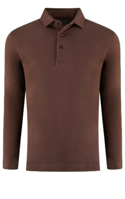 If you are familiar with our Luxe Pima than you can imagine how special and stunning our Long Sleeve fashion polo is. Chocolate Brown pullover 3 button with collar is perfect for dress up or casual. Works great with a jacket and feels like a million with our soft buttery feel. Wash and dry without any shrinkage or twisting seams. Our pima is the finest in the industry and we guarantee it! For a more relaxed look, please size up 100% PIMA COTTON
