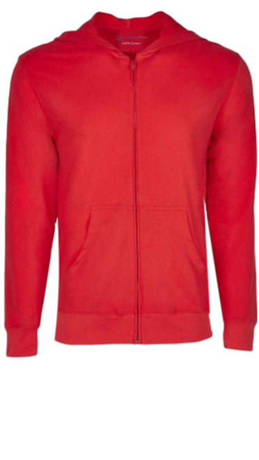 A bright true Red full zip hoodie, to pair with denim, khakis, whites and shorts.   So easy in a soft buttery cotton, that you will just love the comfort and feel. Pair it with any of our tees and enjoy the layered look of casual comfort.  100% Organic cotton  Hand or Machine wash cold and lay flat to dry (No bleach please)
