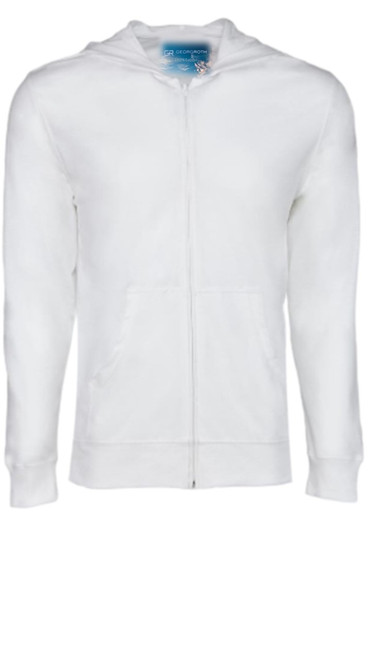Comfort is King! A true White-White full zip hoodie, to pair with shorts, denim, khakis, whites and shorts.   So easy in a soft buttery cotton that you will just love the comfort and feel. Pair it with any of our tees and enjoy the layered look of casual comfort.  100% Organic cotton  Hand or Machine wash cold and lay flat to dry (No bleach please)