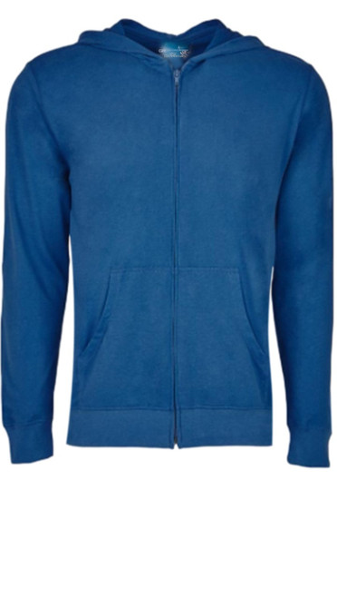 Comfort is King! Indigo blue full zip hoodie, to pair with shorts, denim, khakis, whites and shorts.   So easy in a soft buttery cotton that you will just love the comfort and feel. Pair it with any of our tees and enjoy the layered look of casual comfort.  100% Organic cotton  Hand or Machine wash cold and lay flat to dry (No bleach please)