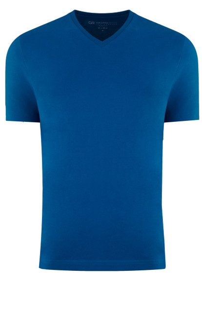 Luxury V Neck Short Sleeves Pima Cotton Mens T-Shirt in a stunning Sapphire Blue  Georg Roth is proud to feature his love of T-Shirts.  The World's Greatest T-Shirt Made of natural materials Our guarantee: 100% Supercombined Pima Cotton / Organic Wash UP TO 60 DEGREES Celsius or 130 Fahrenheit Zero percent shrinkage, dryer proof Maximum maturity of elasticity & shape Ecological dyes of supreme quality & free of chemicals Sapphire Blue V-Neck T-Shirt