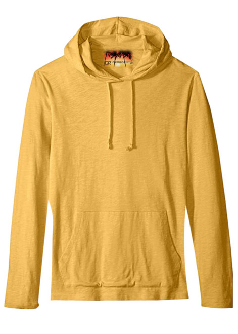 A vibrant yellow pullover hoodie with 2 kangaroo pockets, to pair with shorts, denim, khakis, whites and shorts.   A lightweight slub cotton with texture from Peru, organically grown that you will just love the comfort and feel.   100% Organic cotton  Hand or Machine wash cold and lay flat to dry (No bleach please)