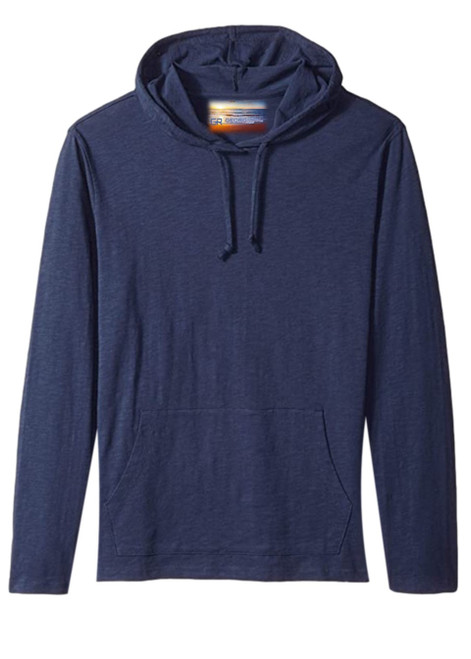 Navy blue pullover hoodie with 2 kangaroo pockets to pair with shorts, denim, khakis, whites.  A lightweight slub cotton with texture from Peru, organically grown that you will just love the comfort and feel.   100% Organic cotton  Hand or Machine wash cold and lay flat to dry (No bleach please)