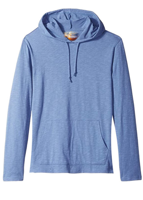 A soft blue pullover hoodie with 2 kangaroo pockets to pair with shorts, denim, khakis, whites.  A lightweight slub cotton with texture from Peru, organically grown that you will just love the comfort and feel.   100% Organic cotton  Hand or Machine wash cold and lay flat to dry (No bleach please)
