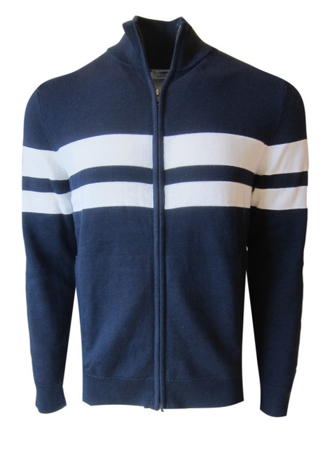 A powerful statement indeed is our cotton knit zip up bomber in navy and white stripe. Pair it with a simple white luxe pima tee and denims.  The perfect piece for spring or summer layering.  100% Organic cotton  Hand or Machine wash cold and lay flat to dry (No bleach please)