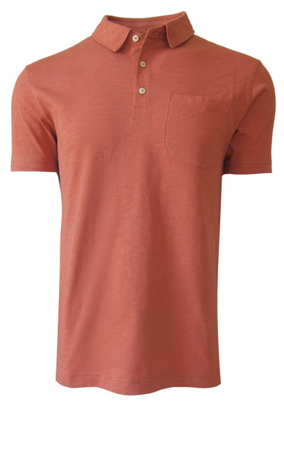Relaxed and comfortable is our short sleeve organic slub cotton Polo. A handsome shade of copper to pair with Khaki, shorts, chinos and denim.  1 Breast Pocket  100% Organic cotton  Hand or Machine wash cold and lay flat to dry (No bleach please)