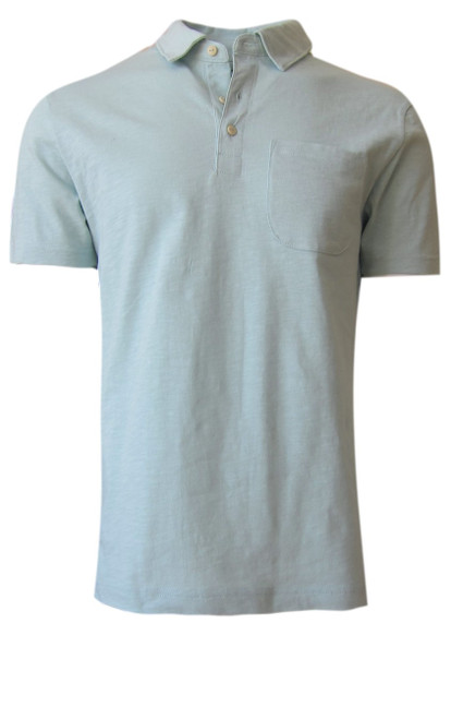 Relaxed and comfortable is our short sleeve organic slub cotton Polo. A soft shade of Aqua to pair with Khaki, shorts, chinos and denim.  1 Breast Pocket  100% Organic cotton  Hand or Machine wash cold and lay flat to dry (No bleach please)