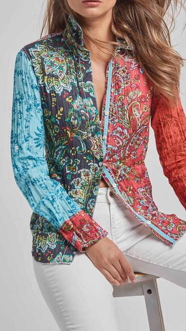 A PLAY WITH PATTERN! Fun and spectacular eye catching blouse to pair with whites, denim and feel likea million!  100% cotton print crinkle voile button down shirt with roll-up sleeves and ribbon detail.    Washes beautifully - Machine wash, twist and go!