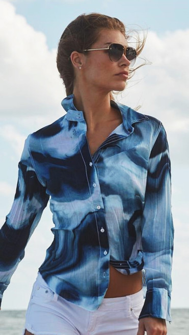 TIE DYE TRENDING! Fun and spectacular eye catching blouse in rich shades of Navy & blues, to pair with whites, denim and feel likea million!  100% cotton print crinkle voile button down shirt with roll-up sleeves and ribbon detail.    Washes beautifully - Machine wash, twist and go!