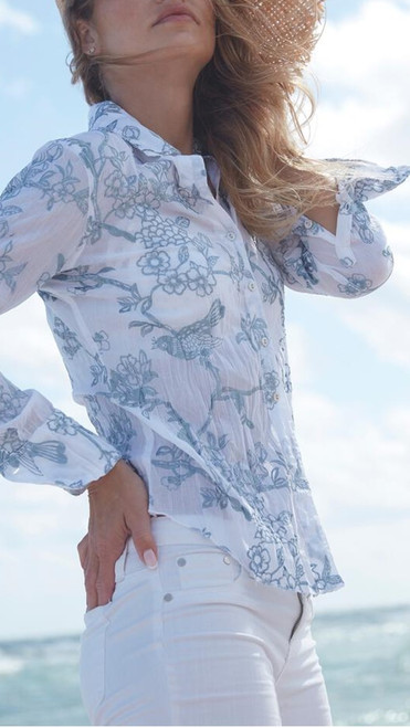 FEELS INCREDIBLE -  super soft and light is our Anguilla Embroidery, Pair with your favorite white bottoms and feel like a million.   Easy care: Machine wash cold and twist to dry for the crinkle effect.  May also be ironed for a crisper look.