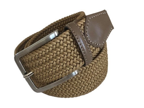 Compliment your Jeans or Trousers with our awesome stretch braided belt. Comfort is King Camel Braided w/ Brown Genuine Leather Tipping Stretch Width 35 mm Order 1 size greater than pant size. Made in Germany