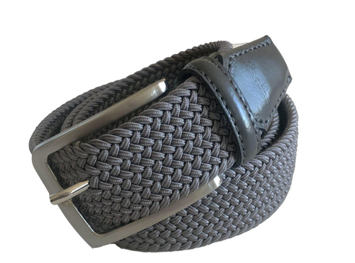 """Compliment your Jeans or Trousers with our awesome stretch braided belt. """"Comfort is King"""" Charcoal Grey Braided w/ Charcoal Genuine Leather Tipping Stretch Width 35 mm Order 1 size greater than pant size. Made in Germany"""