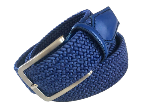 Compliment your Jeans or Trousers with our awesome stretch braided belt. Comfort is King Royal Braided w/ Royal Genuine Leather Tipping Stretch Width 35 mm Order 1 size greater than pant size. Made in Germany