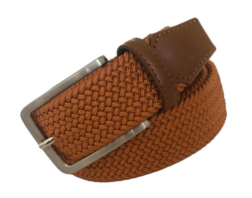 Compliment your Jeans or Trousers with our awesome stretch braided belt. Comfort is King Cognac Braided w/ Brown Genuine Leather Tipping Stretch Width 35 mm Order 1 size greater than pant size. Made in Germany
