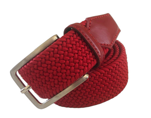Compliment your Jeans or Trousers with our awesome stretch braided belt. Comfort is King Red Braided w/ Red Genuine Leather Tipping Stretch Width 35 mm Order 1 size greater than pant size. Made in Germany