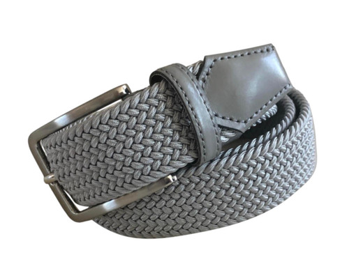 Compliment your Jeans or Trousers with our awesome stretch braided belt. Comfort is King Silver Grey Braided w/ Grey Genuine Leather Tipping Stretch Width 35 mm Order 1 size greater than pant size. Made in Germany